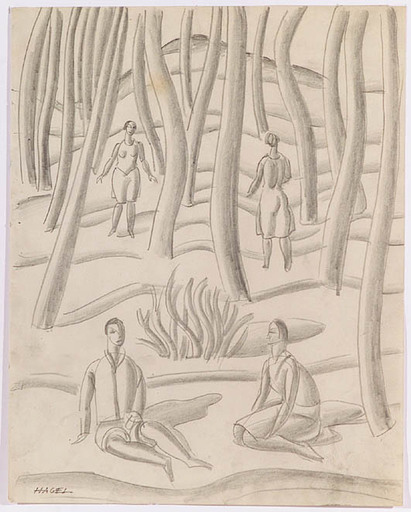 Alfred HAGEL - 水彩作品 -  People in Forest