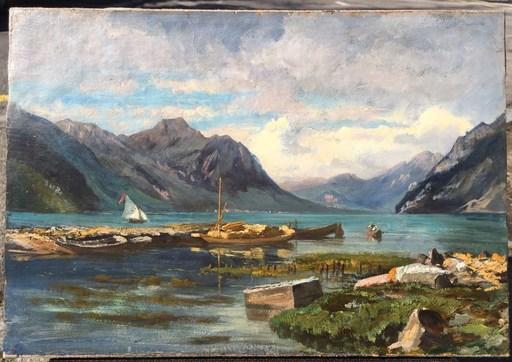 Léon Rodolphe BERTHOUD - Pintura - Brunnen 1888