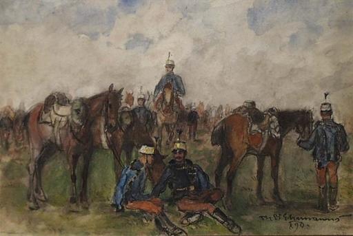 "Theodor VON EHRMANNS - Dessin-Aquarelle - ""Austrian Hussars"" by Theodor von Ehrmanns, 1890"