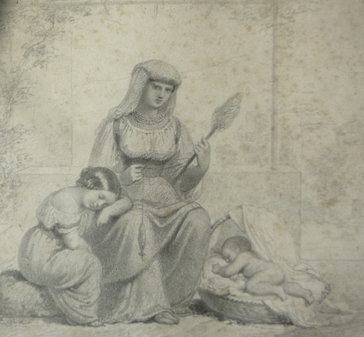 Gennaro GUGLIELMI - Drawing-Watercolor - la fileuse de laine italienne