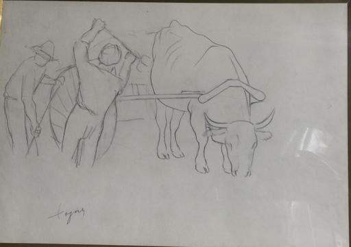 """José Maria DE TOGORES - Drawing-Watercolor - """"RECOGIENDO LA COSECHA"""""""