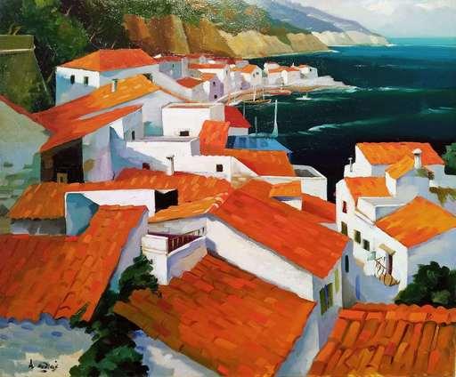 Giovanni Battista DE ANDREIS - Painting - Tetti sul mare