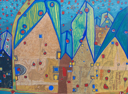 Friedensreich HUNDERTWASSER - Grabado - Houses in Rain of Blood | Häuser im Blutregen