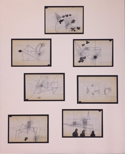 Carlos MÉRIDA - Disegno Acquarello - Sin titulo (7 Bocetos)