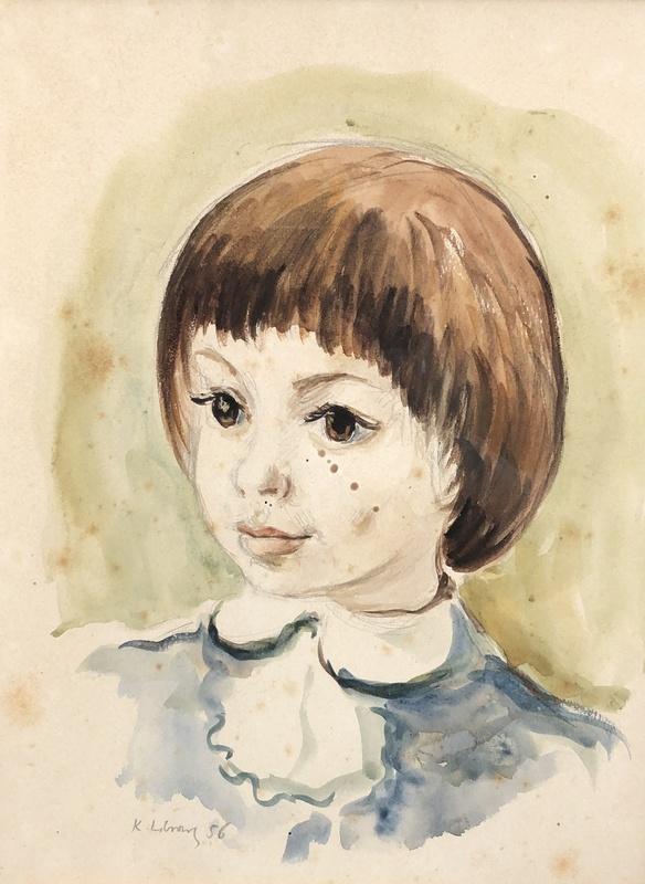 Katherine LIBROWICZ - Drawing-Watercolor - Portrait de fillette