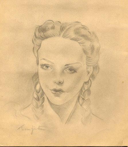 Tsuguharu FOUJITA - Drawing-Watercolor - Frau mit Zopf / Tête de femme avec double tresse