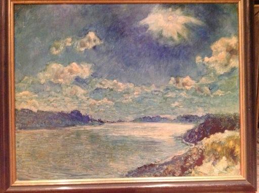 Arthur ILLIES - Pintura - Sonne über der Elbe