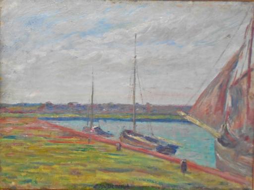 Louis Daniel BOUCHET - Painting - Bateaux à quai.