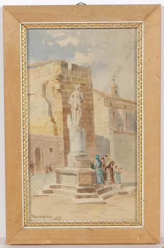 "Ludwig Hans FISCHER - Dibujo Acuarela - ""Motif of Tarragona, Spain"", watercolor, late 19th century"