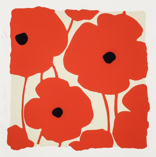 Donald SULTAN - Druckgrafik-Multiple - Three Poppies (Red)