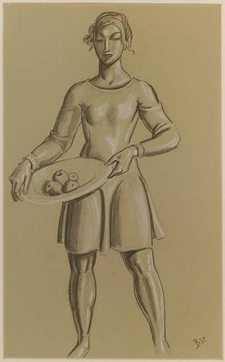 "Bartholomäus II STEFFERL - Zeichnung Aquarell - ""Art Deco Study"", 1920s"