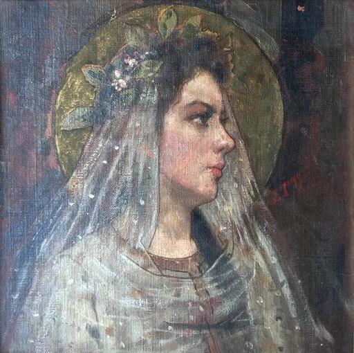 Ettore TITO - Painting - Portrait of a young Virgo