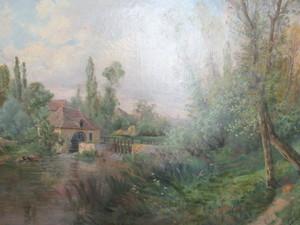 Pierre Ernest BALLUE - Painting - Paysage au moulin