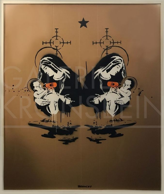 BANKSY - Pintura - Toxic Mary, (double) Unique, signed with artist tag centre
