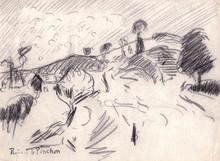 Robert Antoine PINCHON - Dibujo Acuarela - Rouen, le Mont Gargan