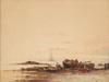 "Félix ZIEM - Dessin-Aquarelle - ""Fishermen at the beach"" watercolor, 19th Century"
