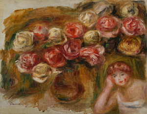 Pierre-Auguste RENOIR - Gemälde - Étude de femme et de fleurs