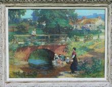 Frederic Arthur BRIDGMAN - Peinture - Laundresses at Old bridge near Les Terrasses Lyons