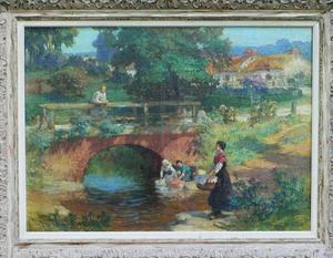 Frederic Arthur BRIDGMAN - Painting - Laundresses at Old bridge near Les Terrasses Lyons