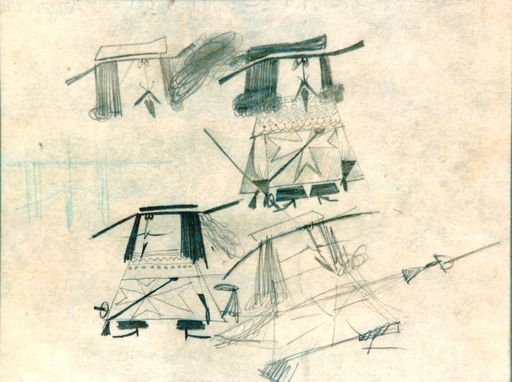 Pino PASCALI - Zeichnung Aquarell - MOSCHETTIERI