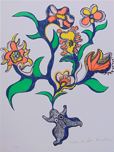 Niki DE SAINT-PHALLE - Estampe-Multiple - Nana with Flowers | Nana aux Fleurs