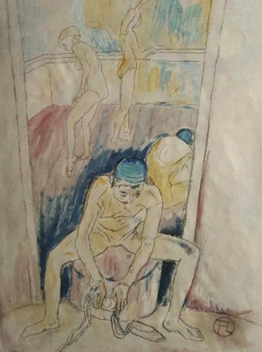 Henri DE TOULOUSE-LAUTREC - Dibujo Acuarela - 3 Ballerinas