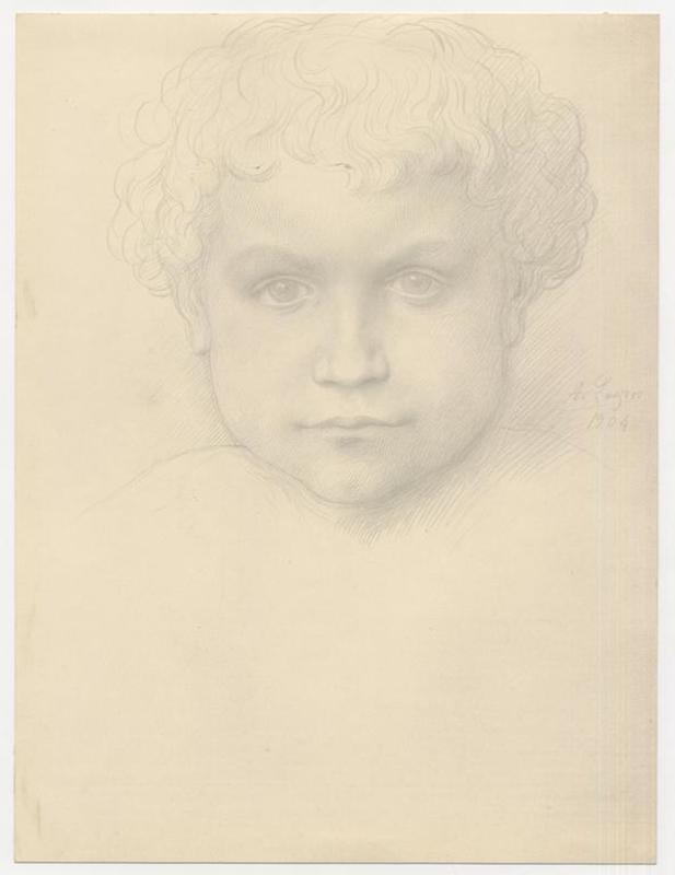 Alphonse LEGROS - Drawing-Watercolor - Tête d'enfant vu de face