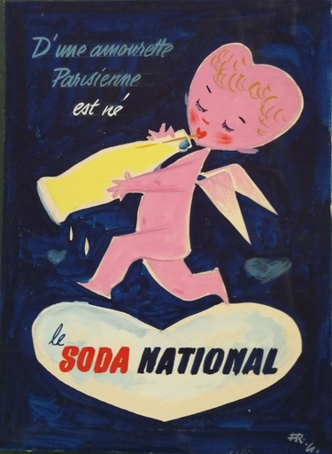Francis GILLETTA - Dibujo Acuarela - Le Soda National - Boisson
