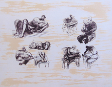 Henry MOORE - Print-Multiple - Eight Sculptural Ideas Girl Writing