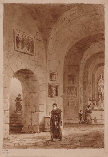 Lancelot Théodore TURPIN DE CRISSÉ - Dibujo Acuarela - Church Interior by Lancelot Theodore de Turpin de Crisse