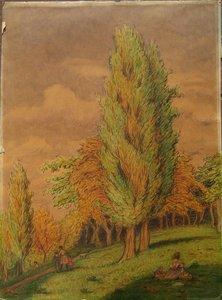 "Paul MOLINARD - Drawing-Watercolor - ""LA PROMENADE DU DIMANCHE"""