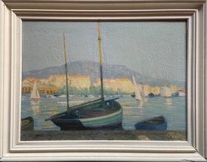 Raymond THIBÉSART - Painting - Vue d'un port sud de la France