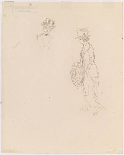 "Richard TESCHNER - Zeichnung Aquarell - ""Studies of a Young Lady"",  1910's"
