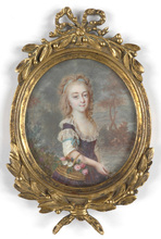 "Louis André FABRE - Miniatura - ""Portrait of a young lady"" important miniature"