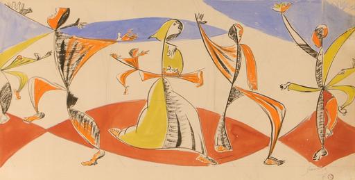Léopold SURVAGE - Disegno Acquarello - La danse