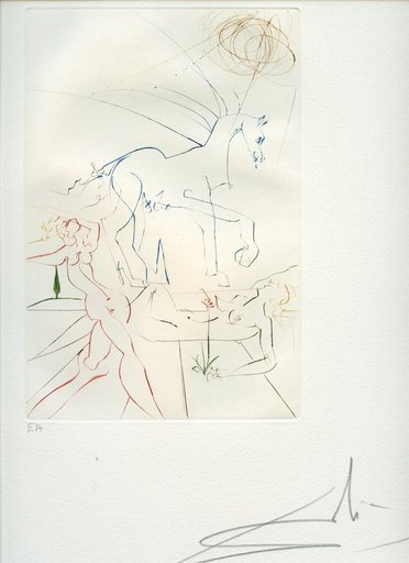 萨尔瓦多·达利 - 版画 - GRAVURE 1973 SIGNÉE AU CRAYON EA ML584 HANDSIGNED EA ETCHING