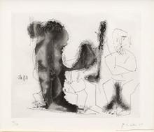 Pablo PICASSO - Estampe-Multiple - Vieux peintre avec modèle barbu et une spectatrice