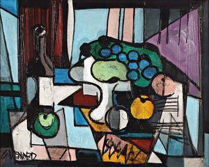Claude VENARD - Painting - Composition au Compotier