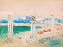 Jean DUFY - Disegno Acquarello - Pont Alexandre III