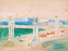 Jean DUFY - Dibujo Acuarela - Pont Alexandre III