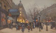 """Eugène GALIEN-LALOUE - Drawing-Watercolor - """"Les Grands Boulevards"""""""