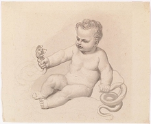 "Samuel DE WILDE - Drawing-Watercolor - ""Little Gercules"", Drawing"