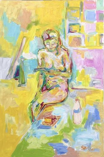 Nicole LEIDENFROST - Gemälde - Akt mit Käsekuchen
