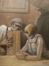 Georges TOURNON - Drawing-Watercolor - Paris rue de Lappe au vrai Musette.