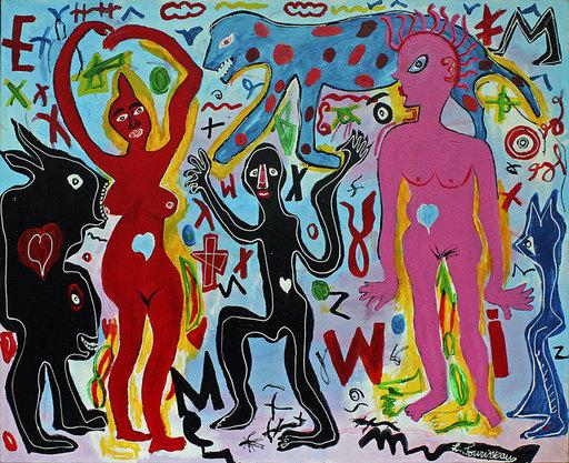 Lionel SOURISSEAU - Painting - Le lion de mon désir est dans ton souvenir