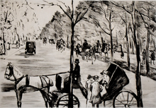 Lesser URY - Grabado - venue in the Tiergarten with Carriage in the Foreground