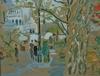Charles BLANC - Dessin-Aquarelle - Scène animée à Montmartre, Paris