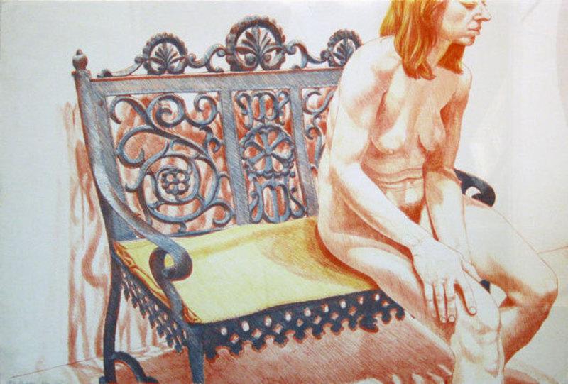 Philip PEARLSTEIN - Grabado - Girl On Iron Bench