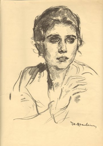 Max OPPENHEIMER - Drawing-Watercolor - Bildnis einer jungen Frau