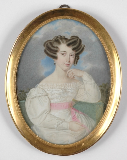 """Johann Nepomuk ENDER - Zeichnung Aquarell - """"Portrait of a young Lady"""" Large Miniature"""
